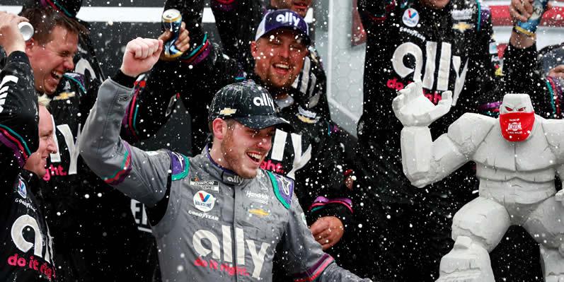 Alex Bowman celebrates his win at Dover
