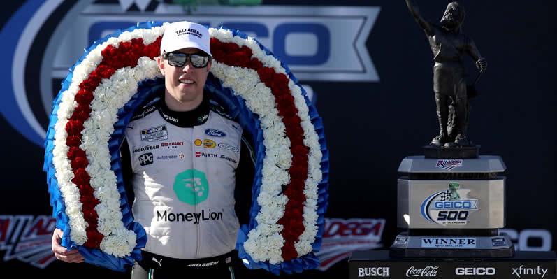 Brad Keselowski in victory lane at Talladega Superspeedway
