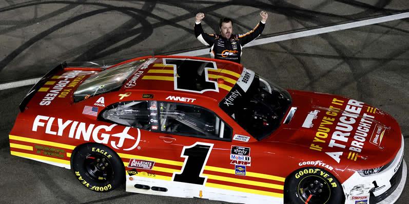 Josh Berry celebrates after winning at Las Vegas Motor Speedway.