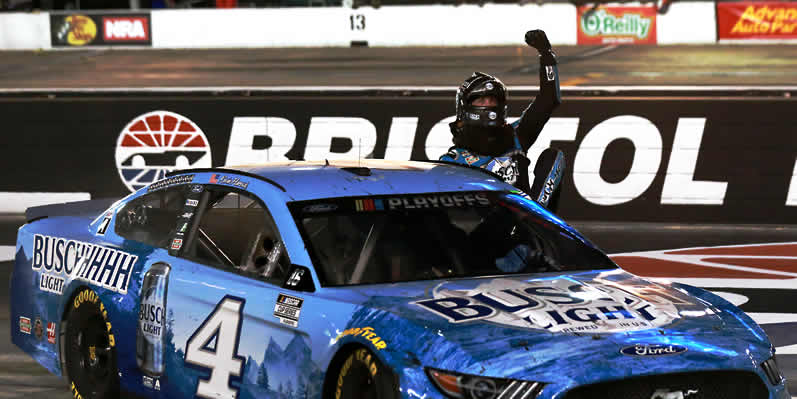 Harvick celebrates win at Bristol