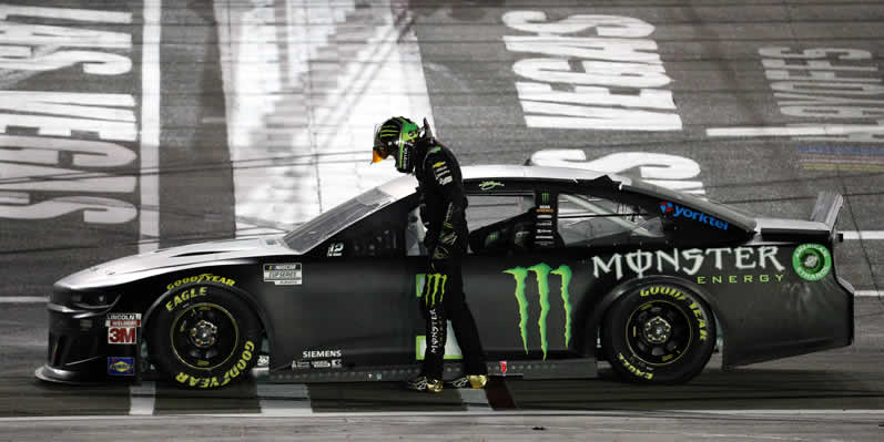 Kurt Busch celebrates after winning the South Point 400 at Las Vegas Motor Speedway