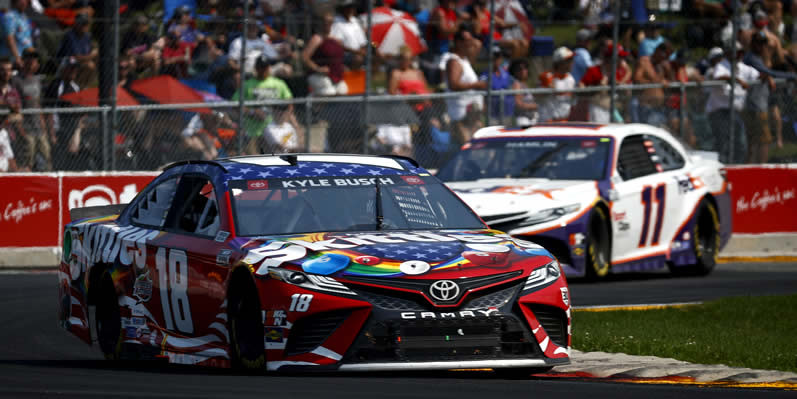 Kyle Busch drives during the NASCAR Cup Series Jockey Made in America 250