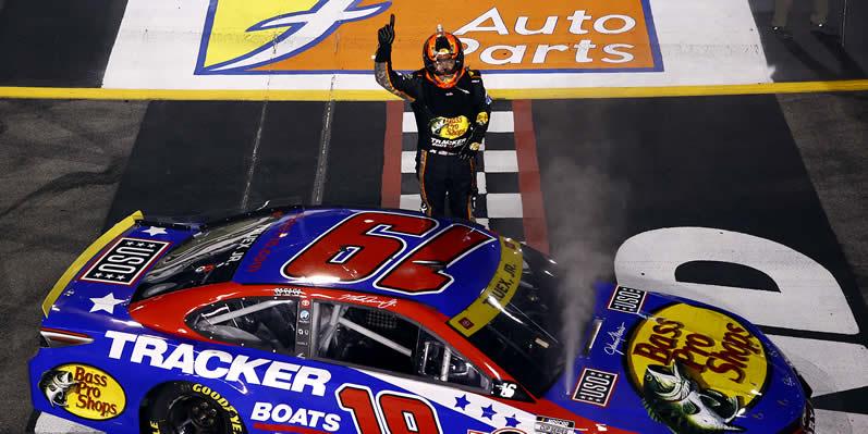 Martin Truex Jr celebrates after winning at Richmond Raceway