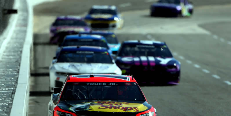 Martin Truex Jr leads the field at Martinsville Speedway
