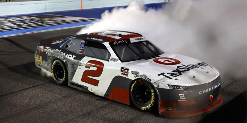Myatt Snider celebrates with a burnout after winning the Contender Boats 250 at Homestead-Miami Speedway