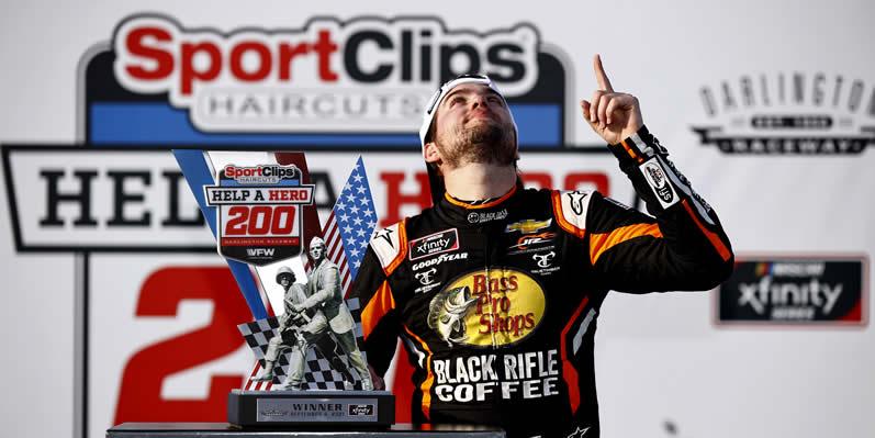 Noah Gragson celebrates in victory lane