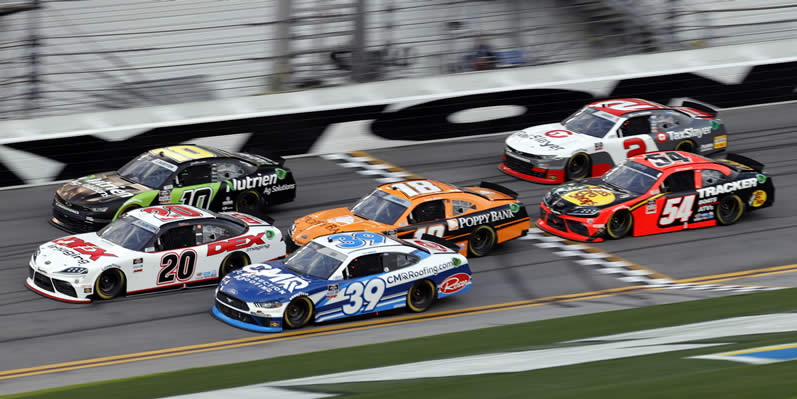 Ryan Sieg, Harrison Burton, Jeb Burton and Daniel Hemric race at Daytona International Speedway