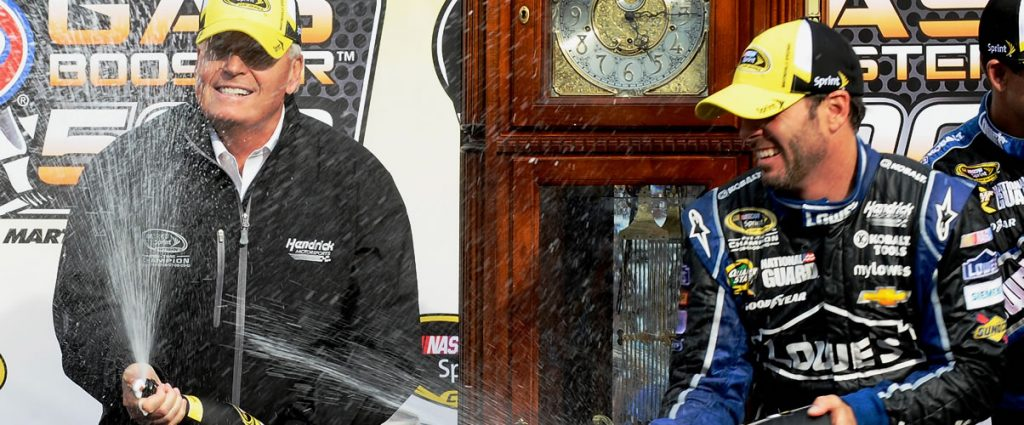 Jimmie Johnson & Rick Hendrick celebrate at Martinsville