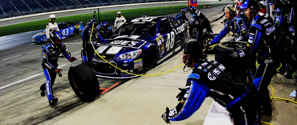 Jimmie Johnson's #48 team pit stop at Chicagoland Speedway